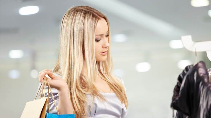 Blonde Girl Doing Shopping