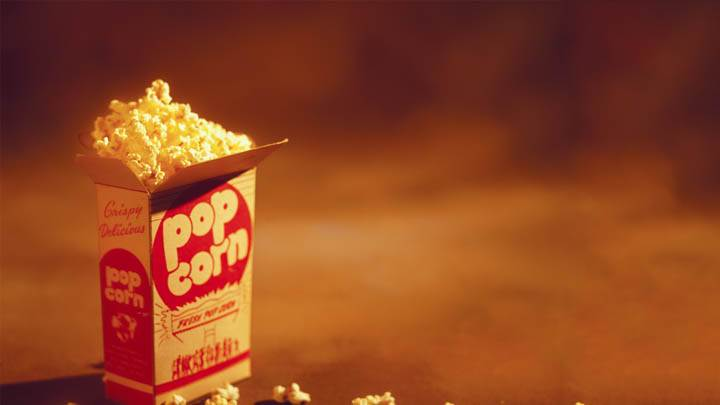 Box of Popcorn Closeup Photo