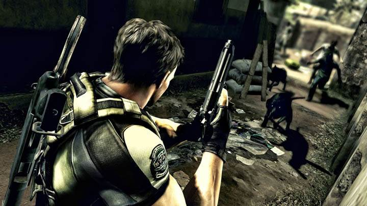 Chris Ready To Shoot Dogs in Resident Evil 5