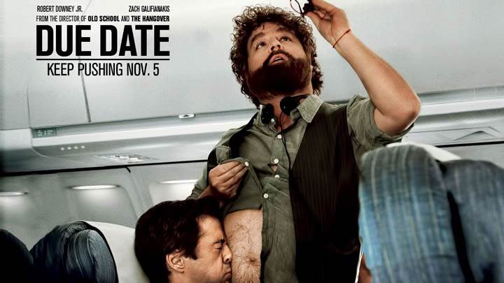 Due Date – Robert Downey Jr. and Zach Galifianakis in Plane