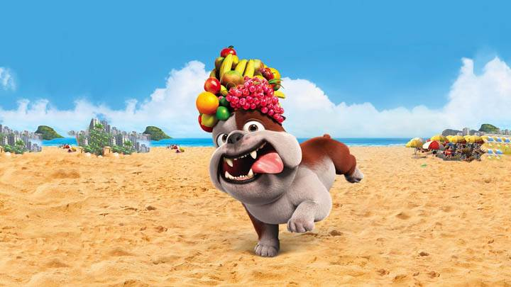 Luiz Bulldog With Fruits on Head In Rio