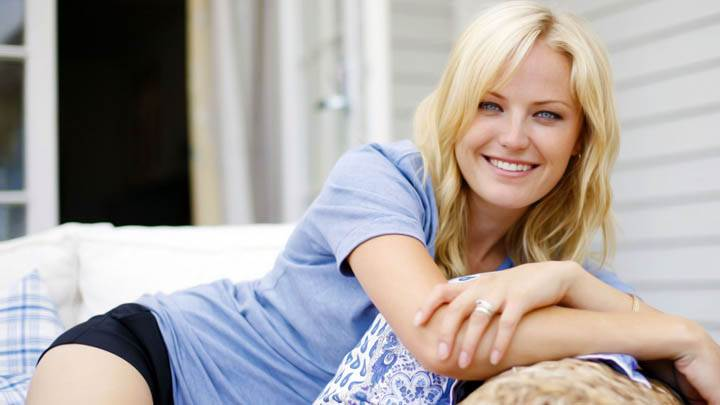 Malin Akerman Blue Top And Black Nikker