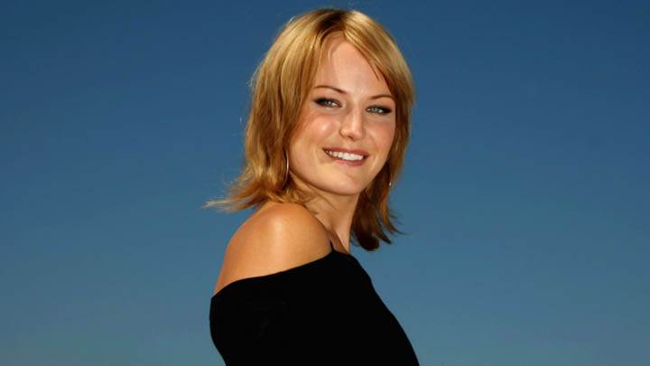 Malin Akerman In Black Dress Side Pose
