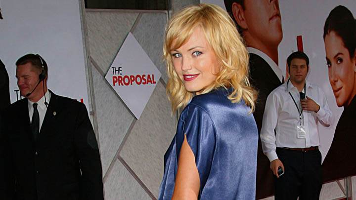 Malin Akerman Side Back Pose In Blue Top