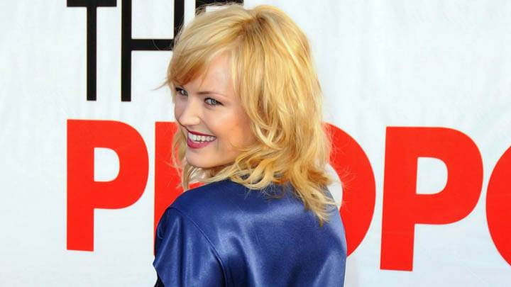 Malin Akerman Side Pose Laughing Blue Dress