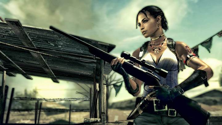 Sheva with Rifle in Resident Evil 5