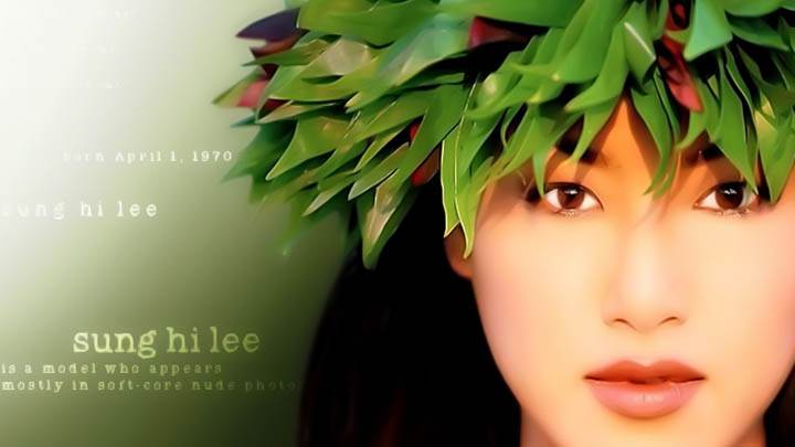 Sung Hi Lee Model Green Leaves Hat On Face