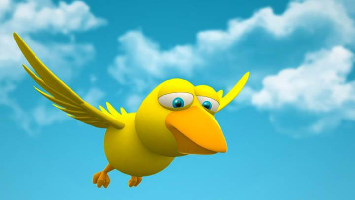 3D Yellow Bird Flying In Sky