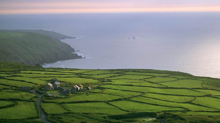 Aerial View of Rosemergy Farm, Cornwall, England
