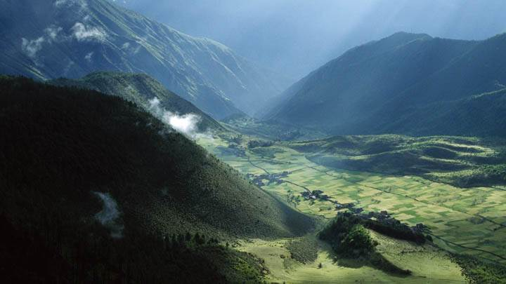 Agricultural Fields and Village, Tibet