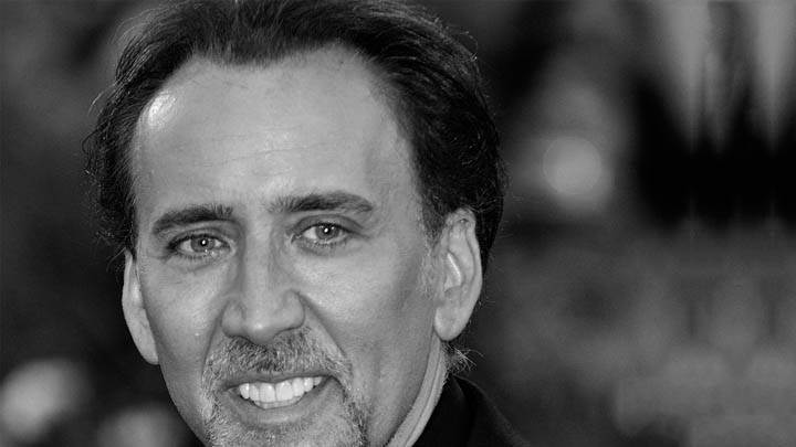 Black N White Nicolas Cage Face Closeup