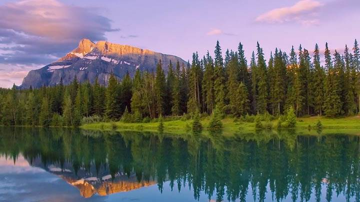 Cascade Ponds At Sunrise Lake Minnewanka Banff National Park Alberta