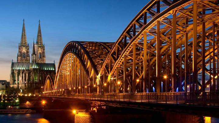 Cathedral and Hohenzollern Bridge at Night, Cologne, Germany