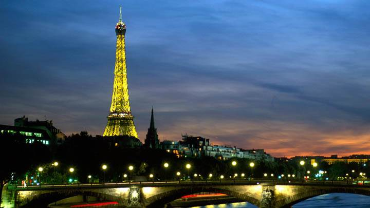 Eiffel Tower and the Seine River at Night, Paris, France