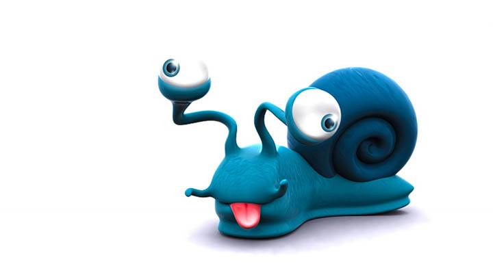 Funny 3D Snail showing its tongue