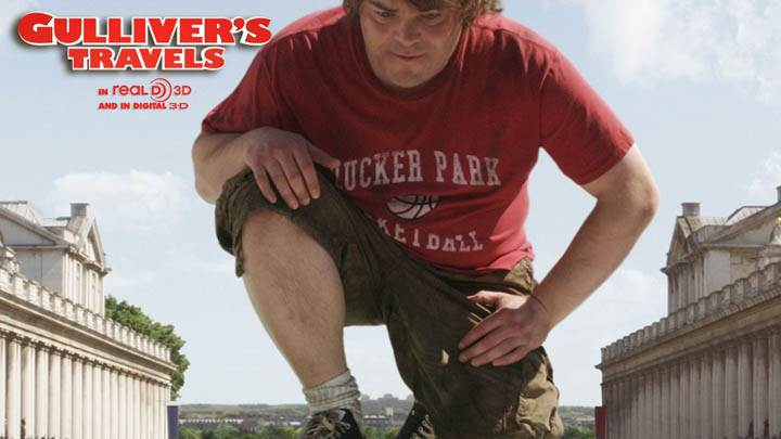 Jack Black Sitting in Red Tshirt in Gullivers Travels