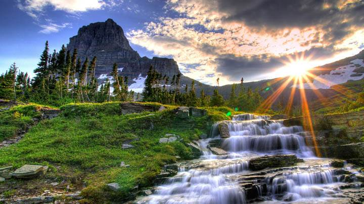 Logan Pass at Sunset, Glacier National Park, Montana