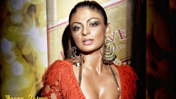 Neeru Bajwa in Red Dress Showing Cleavage
