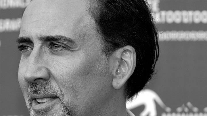 Nicolas Cage Face Side View Black N White