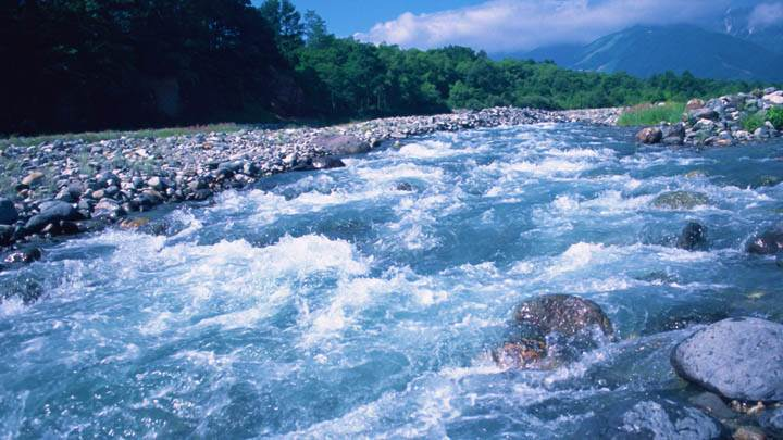 River Passing Through Hilly Area