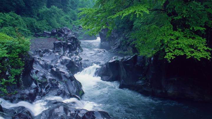 River flowing in Mountains