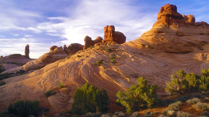 Sandstone Formations at Sunset, Arches National Park, Utah