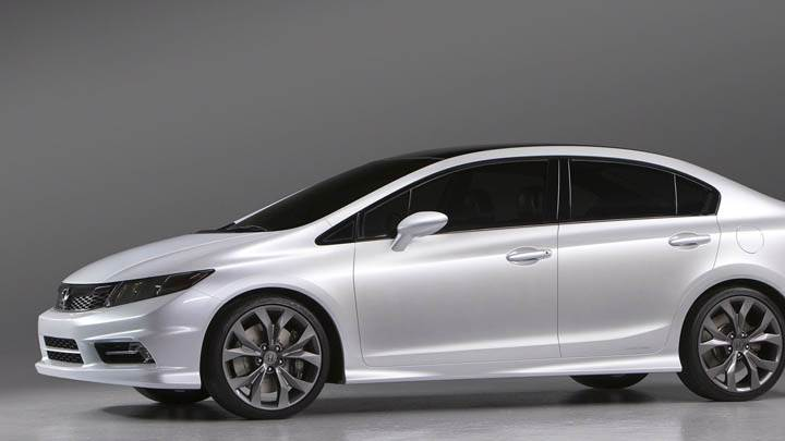 Side Pose of Honda Civic in White