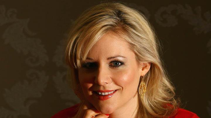 Abi Titmuss Red Lips Smiling