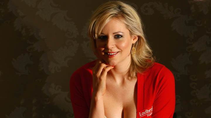 Abi Titmuss Wearing A Red Poker Dress