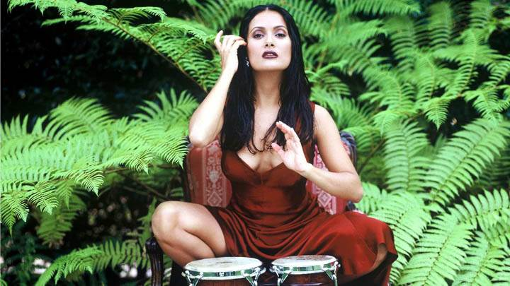 Salma Hayek – Sitting In Park In Red Dress