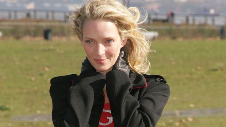 Uma Thurman Black Jacket Smiling Face Closeups