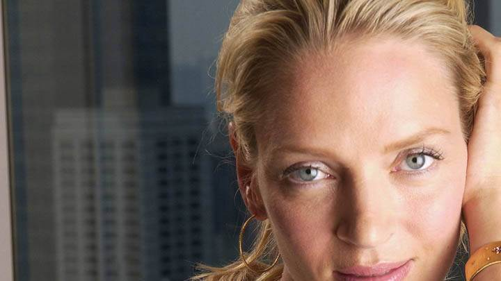 Uma Thurman Face Closeup & Looking At Camera