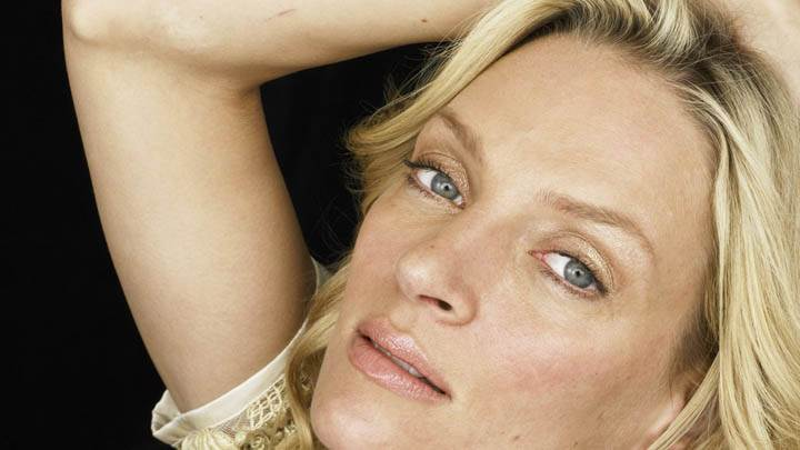 Uma Thurman Face Closeups Wet Lips