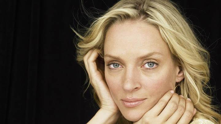 Uma Thurman Golden Hair Face Closeups