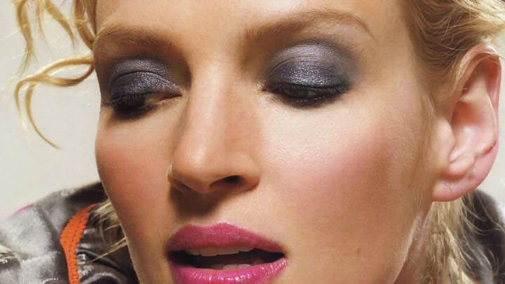 Uma Thurman Pink Lips Face Closeups
