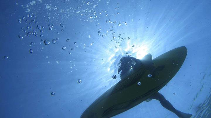 Underwater View of a Surfer, Off the Island of Lefkas, Greece