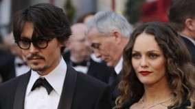 Vanessa Paradis & Johnny Depp In Black Dress Face Closeups