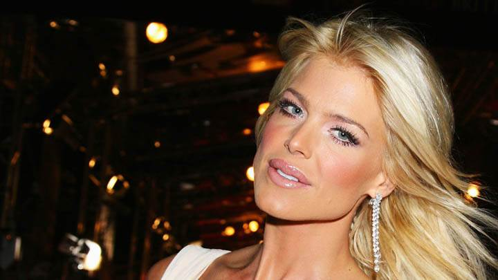 Victoria Silvstedt In White Dress Pink Lips & Golden Hair