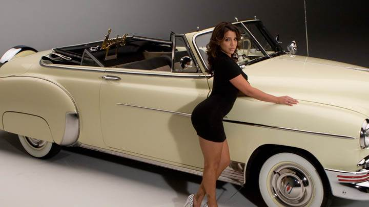 Vida Guerra Photoshoot With White Car In Black Dress