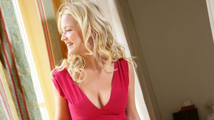 Virginie Efira Smiling Face In Red Dress Side Pose