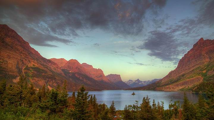 Wild Goose Island on Saint Mary Lake at Sunrise