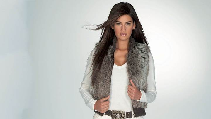 Yamila Diaz Wearing A White Dress & Fur Jacket