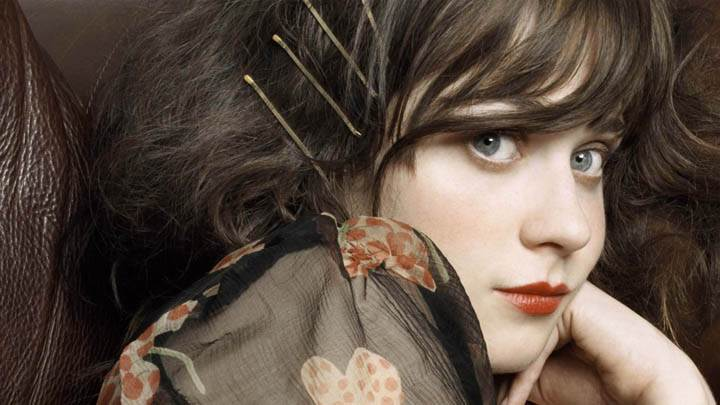 Zooey Deschanel Red Lips Face Closeup