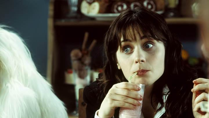 Zooey Deschanel Sitting & Drinking Milk Shake