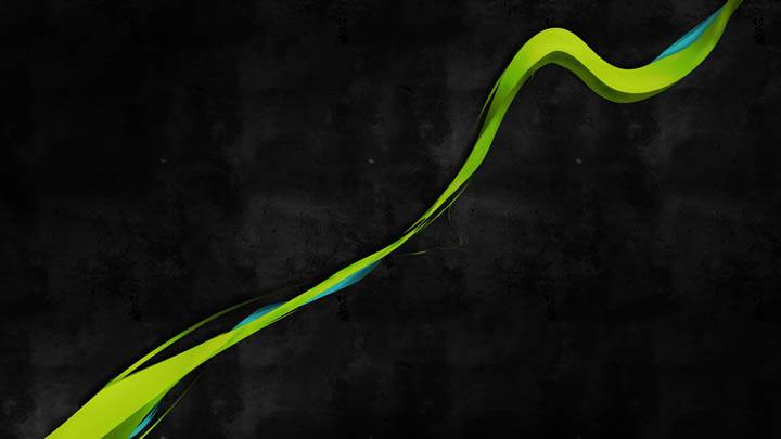 A Green Line On Black Background