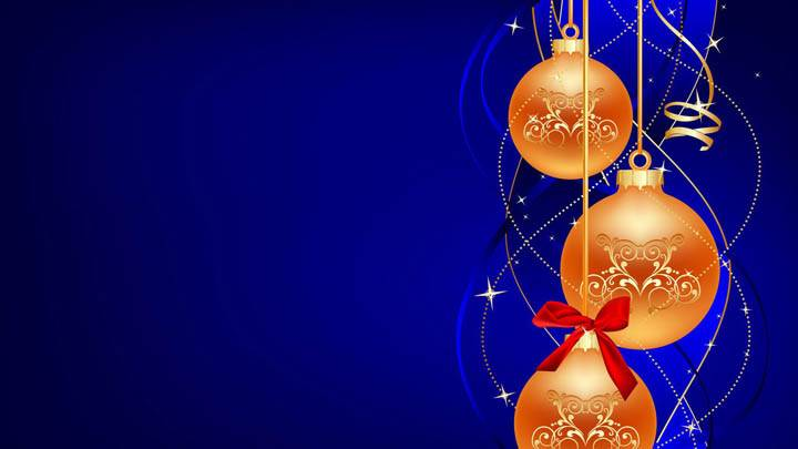 Bulbs For Christmas Day On Blue Background