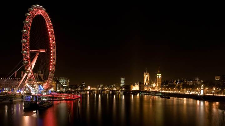 London Wheel Beautiful Night Scene