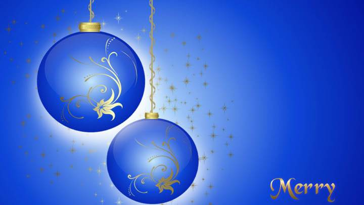 Merry Christmas Blue Baloons & Background