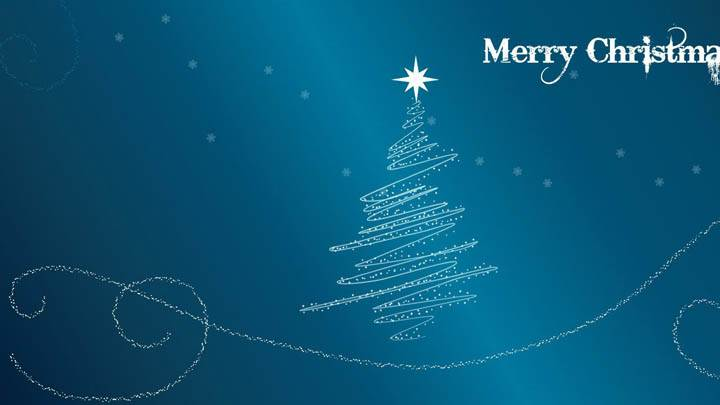 Merry Christmas With Blue Background