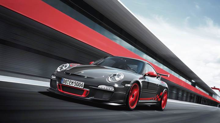Porsche 911 GT3 RS Black Running on Race Course